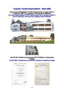 Tauscher Transformatorenfabrik News 2009
