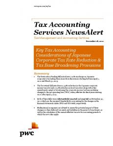 Tax Accounting Services NewsAlert Tax Management and Accounting Services
