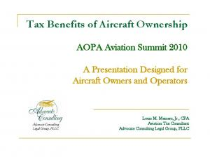 Tax Benefits of Aircraft Ownership