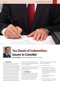 Tax Deeds of Indemnities: Issues to Consider