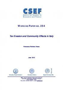 Tax Evasion and Community Effects in Italy
