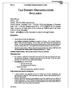 TAX EXEMPT ORGANIZATIONS SYLLABUS