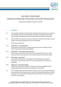TAX-FREE CHILDCARE: CONSULTATION ON CHILDCARE ACCOUNT PROVISION