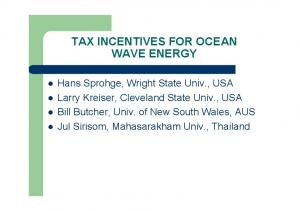 TAX INCENTIVES FOR OCEAN WAVE ENERGY