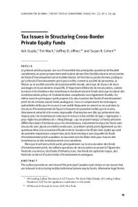 Tax Issues in Structuring Cross-Border Private Equity Funds