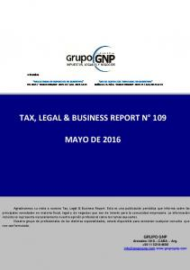 TAX, LEGAL & BUSINESS REPORT N 109