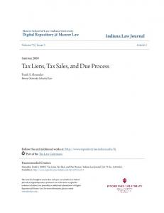 Tax Liens, Tax Sales, and Due Process