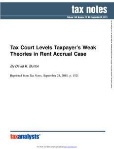 tax notes Volume 148, Number 13 September 28, 2015