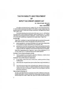 TAX PAYABILITY AND TREATMENT OF INPUT TAX CREDIT UNDER VAT
