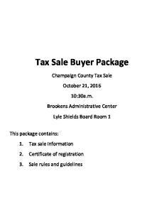Tax Sale Buyer Package