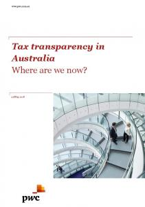 Tax transparency in Australia Where are we now?