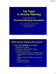 Tax Traps In Annuity Planning