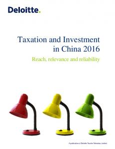 Taxation and Investment in China 2016