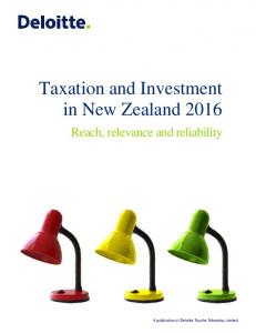 Taxation and Investment in New Zealand 2016