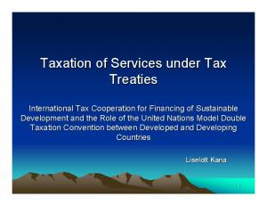 Taxation of Services under Tax Treaties