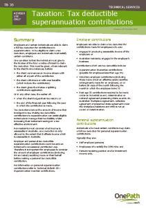 Taxation: Tax deductible superannuation contributions