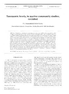 Taxonomic levels, in marine community studies, revisited