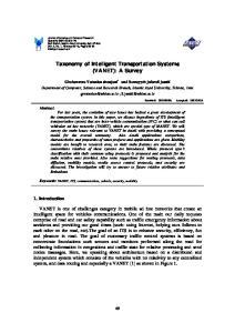 Taxonomy of Intelligent Transportation Systems (VANET): A Survey