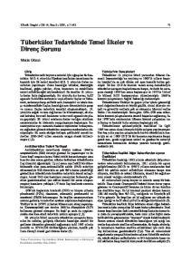 Tüberküloz Tedavisinde Temel lkeler ve Direnç Sorunu