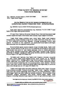 T.C. TÜRK PATENT VE MARKA KURUMU Patent Dairesi Başkanlığı