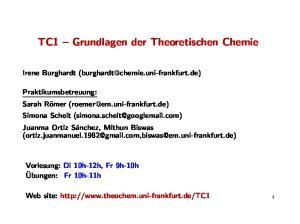 TC1 Grundlagen der Theoretischen Chemie