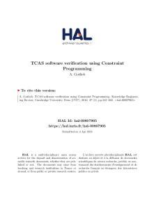 TCAS software verification using Constraint Programming