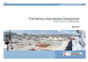TCDD Derince Liman İşletmesi Özelleştirmesi Kısa Tanıtım Dökümanı