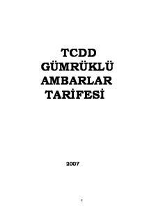 TCDD GÜMRÜKLÜ AMBARLAR TARİFESİ