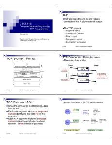 TCP. TCP Segment Format. TCP Data and ACK. TCP Connection Establishment Three-way handshake. CSCE515 Computer Network Programming