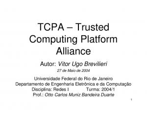 TCPA Trusted Computing Platform Alliance