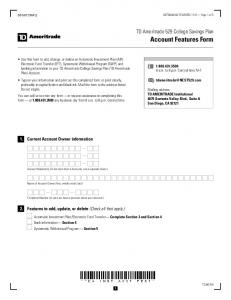 TD Ameritrade 529 College Savings Plan Account Features Form