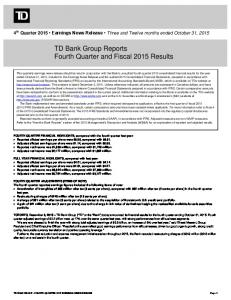 TD Bank Group Reports Fourth Quarter and Fiscal 2015 Results
