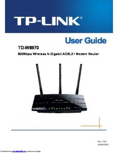 TD-W Mbps Wireless N Gigabit ADSL2+ Modem Router. Rev: Downloaded from  manuals search engine