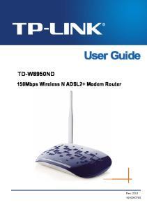 TD-W8950ND 150Mbps Wireless N ADSL2+ Modem Router