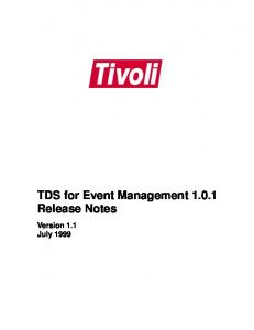 TDS for Event Management Release Notes