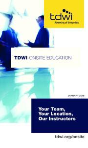 TDWI ONSITE EDUCATION
