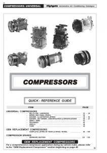te Automotive Air Conditioning Catalogue COMPRESSORS QUICK - REFERENCE GUIDE