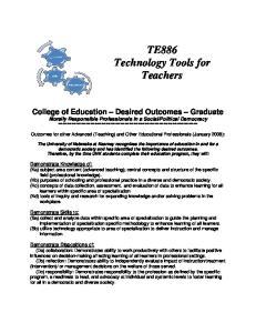 TE886 Technology Tools for Teachers