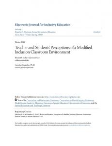 Teacher and Students' Perceptions of a Modified Inclusion Classroom Environment