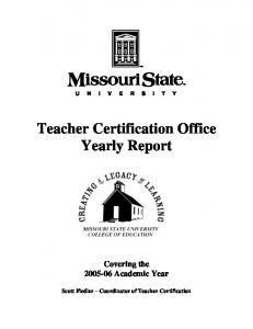 Teacher Certification Office Yearly Report