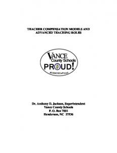 TEACHER COMPENSATION MODELS AND ADVANCED TEACHING ROLES