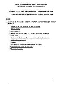 Teacher: David Romero Moreno Subject: Tourist Destinations. Training course: Travel agency and event management