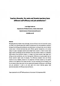 Teacher diversity: Do male and female teachers have different self-efficacy and job satisfaction?