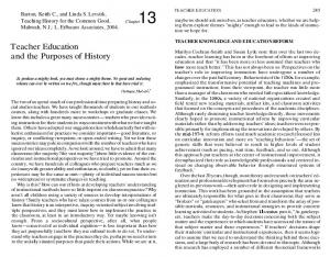 Teacher Education and the Purposes of History