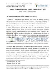 Teacher Education and Total Quality Management (TQM)
