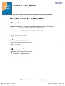 Teacher education and training in Japan
