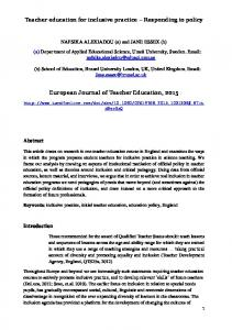 Teacher education for inclusive practice Responding to policy. European Journal of Teacher Education, 2015