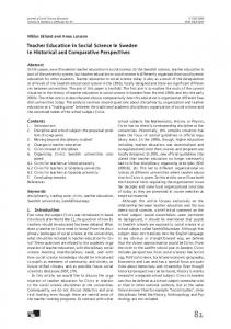 Teacher Education in Social Science in Sweden in Historical and Comparative Perspectives