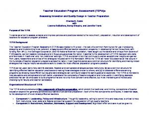 Teacher Education Program Assessment (TEPA) :