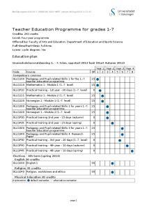 Teacher Education Programme for grades 1-7